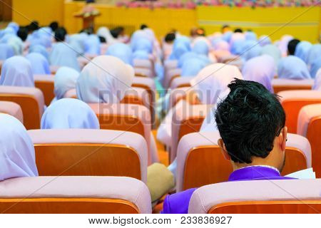 Students Education Sit On Chair Orange Interior Classroom Learning In University