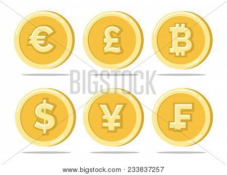 Currency Coins. Sterling Pound And Euro, Dollar And Japanese Bitcoin Gold Coin Set Isolated On White