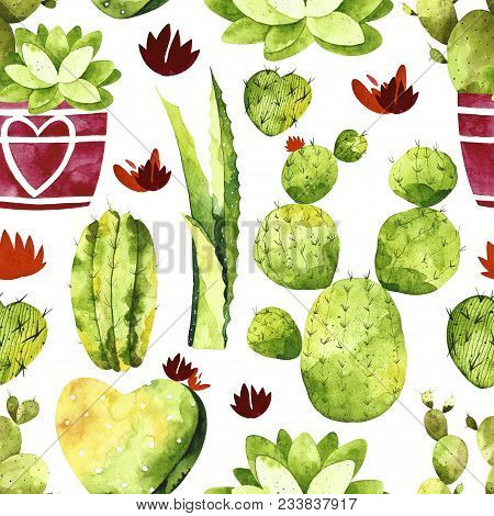 Watercolor Cactus Seamless Pattern. Pattern With Cactus, Succulents, Cactus In Pots.  Perfect For Yo