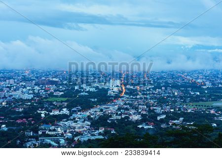 Chiang Mai The Old City  View From High Angle Spot .