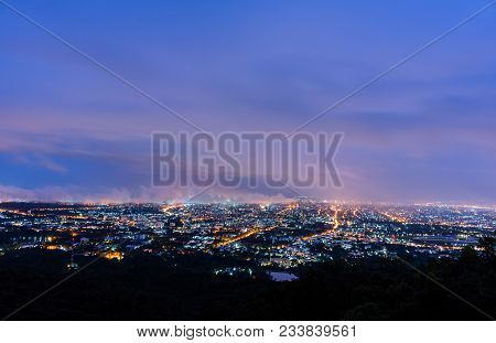 Long Exposure Shot Image Of Chiang Mai Province,thailand The Old City  View From High Angle Spot .
