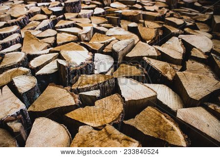 Firewood Dry Firewood In A Pile For Furnace Kindling