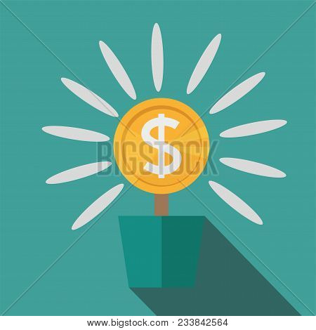 Flat, Potted Money Dollar Flower. Monetary Success Illustration. Isolated On Blue. Modern, Minimalis