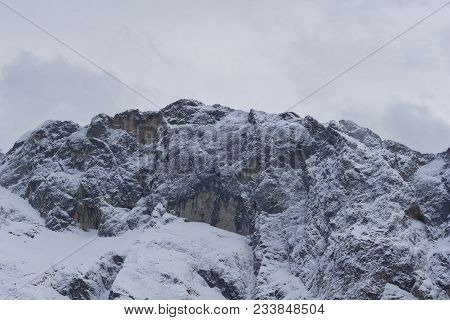 Close-up Of Amazing Snowy Mountains In The Bavarian Alps.  View To Beautiful Big Mountains In The Ba