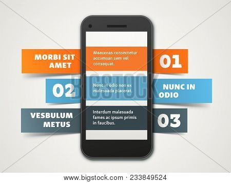 Bright Eye-catching Vector Infographic Template. Numbered List With A Smartphone And Ribbons. Three