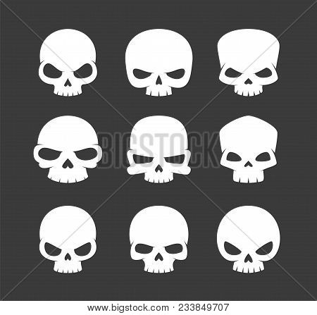 Minimalistic Abstract Vector Skulls Logos Collection. Set Of Simple Graphic Human Dead Heads With An