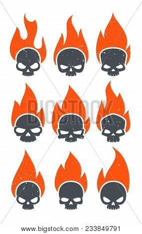 Abstract Aggressive Angry Burning Skulls Badges Collection. Flaming Evil Dead Head Stickers For Note