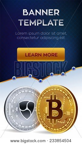 Cryptocurrency Editable Banner Template. Bitcoin. Nem. 3d Isometric Physical Bit Coins. Golden Bitco