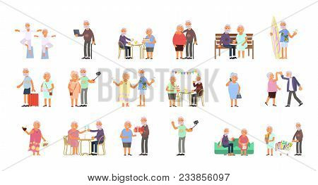 Big Set Of Healthy Active Lifestyle Retiree For Grandparents. Elderly People Characters.  Grandparen