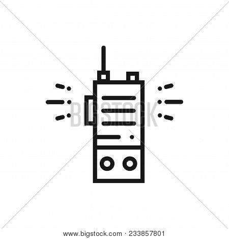Portable Radio Line Icon. Radio Set Sign And Symbol