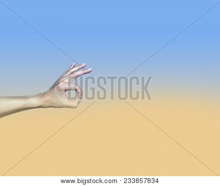 Ok Agree Hand Gesture On Pastel Background Color