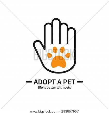 Adopt A Pet. Hand With Paw Line Icon. Volunteer Help Care Protection Support Theme. Pet Adoption Sig