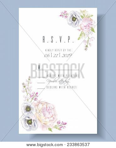 Vector Wedding Invitation R.s.v.p. Card With Peony And Anemone Flowers On White. Romantic Design. Ca