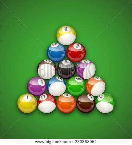 Glossy Billiard Balls On Green Table Vector Illustration. Realistic Pool Balls Shaped In Triangle.
