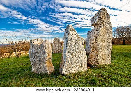 Stone Monuments In Tican Village, Istria Region Of Croatia