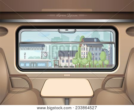 View Of The Railway Station From The Train Window. Travel And Transportation By Train. Train Journey