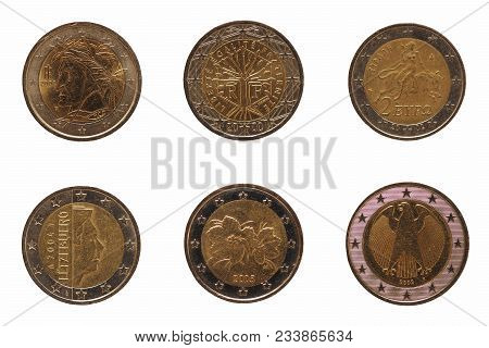 Many 2 Euro Coins Money (eur) From Different Countries, Currency Of European Union