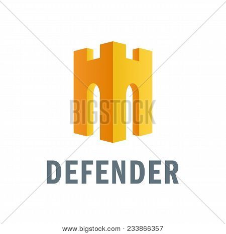Vector Modern Flat Logo With A Medieval Tower Looking Like A Helmet With A Nose Guard. Expressing Pr