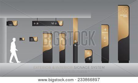 exterior and interior signage concept. direction, pole, wall mount and traffic signage system design template set. empty space for logo, text, black and gold corporate identity poster