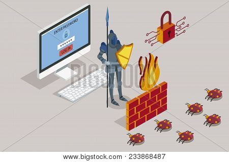 Online Data Security. Antivirus Software For Work Safe The Web. Security Data Protection With Firewa
