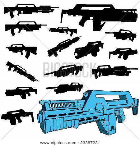 machinegun silhouette set