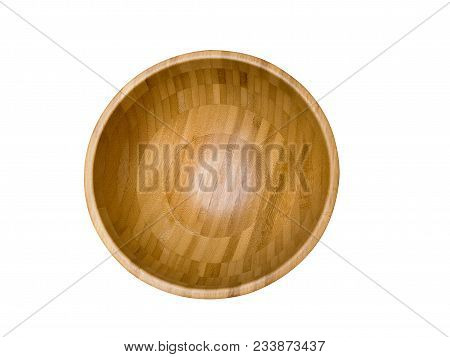 Close Up Shot From Top View Of Empty Wood Bowl Isolated On White Background.