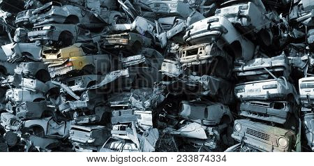 Stacked Smashed Cars For Scrap, Junk, Background