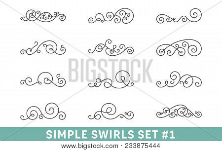 Set Of Elegant Vector Swirls. Cool Design Elements Collection, Good For Page Decoration. Antique Div