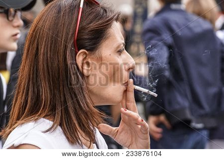 Milan, Italy - March 17, 2018: Scene From Metropolis With Close Up Of Smoking Woman, Milan .