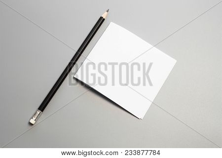 Blank Portrait Mock-up Paper With Pencil. Brochure Magazine Isolated On Gray, Changeable Background