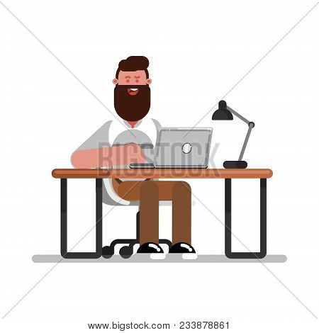 Man Designer Working. Concept Of Work Place With Computer, Laptop, Lamp, To Do List, Working Program