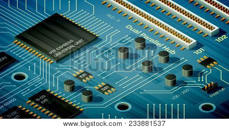 Vector Blue Motherboard Illustration In Isometric Perspective. Capacitors, Ports, Chips And Semicond