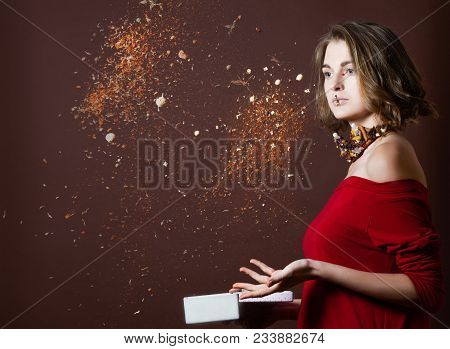 Piquant Woman With Creative Make Up Scatterd Various Spices From The Box. Hot Cuisine
