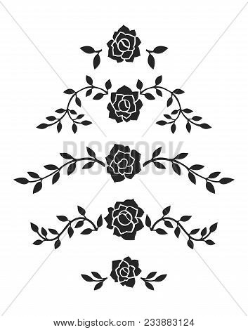 Simple Vector Vintage Roses Page Decoration Elements. Black Floral Dividers For Good Looking Page Ma