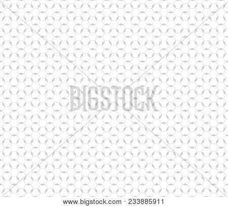 Subtle Texture. Vector Monochrome Seamless Pattern. White And Light Gray Geometric Ornament. Thin Li