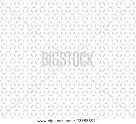 Subtle Texture. Vector Monochrome Seamless Pattern. White And Light Gray Geometric Ornament. Thin Li
