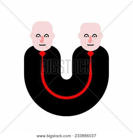 Siamese Twins Isolated. Fused People. Vector Illustration