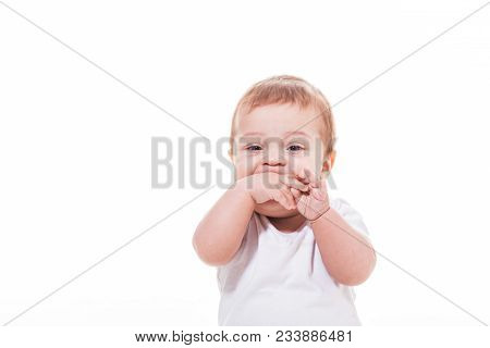 Baby Teething, Hands In The Mouth, Isolated On White