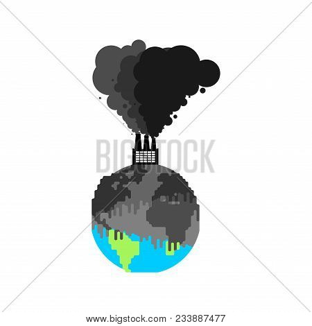 Pollution Of Earth. Plant And Smoke. Black Planet. Poisonous Waste. Environmental Pollution. Chemica