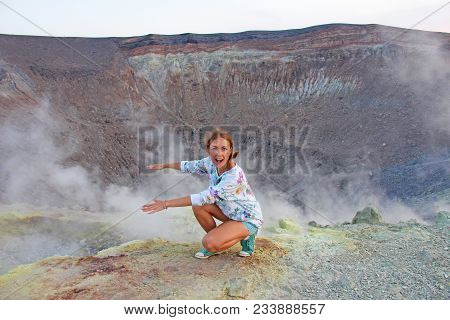 A Girl On The Gray Hydrogen Volcano And Volcano Craters On Vulcano Island, Lipari, Italy. Sunset, Ga