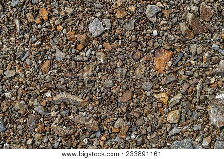 Crushed Stone As Background Or Texture. Crushed Stone Texture Background. Macadam. Stone Texture