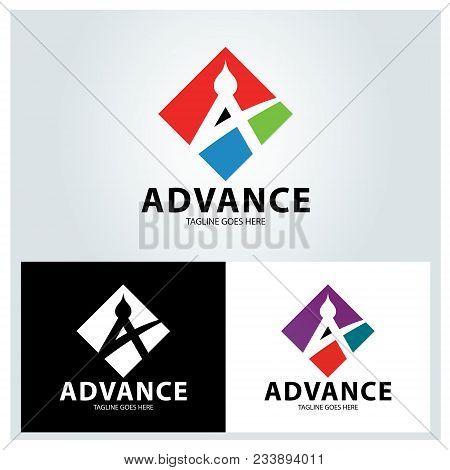 Advance Logo Design Template.  Letter A Logo Design Concept. Vector Illustration