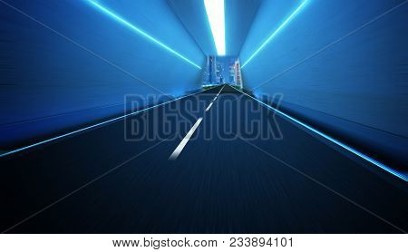 Tunnel Road With Speed Motion Blur Effect .
