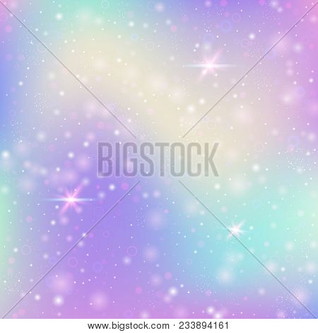 Fairy Background With Rainbow Mesh. Girlish Universe Banner In Princess Colors. Fantasy Gradient Bac