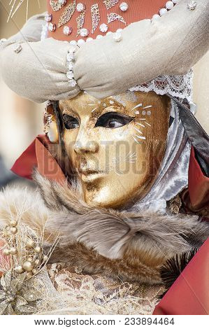 Venice, Italy - 5 Feruary 2018 - The Elaborate And Colorful Masks Worn By Tourists And Venetians Peo