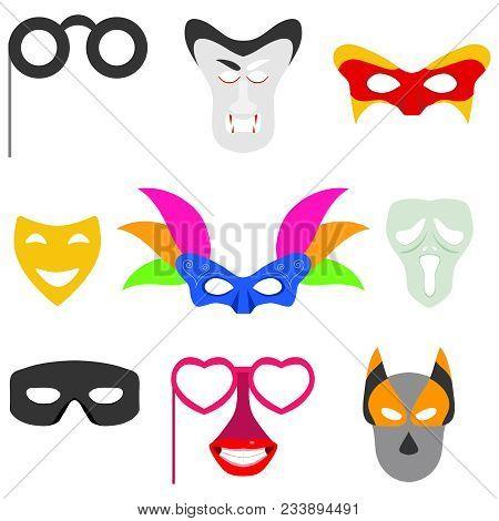 Carnival Mask. Masks For Carnival, Masquerade Masks, A Set Of Carnival Accessories. Vector Design, V