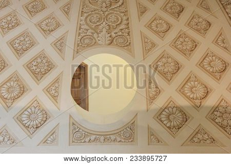 St. Petersburg, Russia - March 5, 2018: Historic Building Interior Architecture With Round Circle Fr