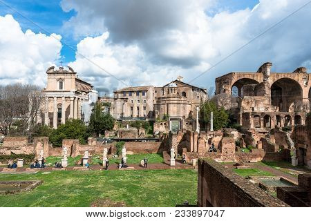 Rome, Italy, March 07, 2018: Horizontal Picture Of Old Buildings From The Ancient Roman Empire Durin