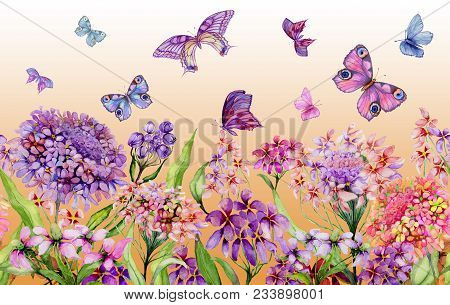 Summer Wide Banner. Vivid Iberis Flowers And Colorful Butterflies On Orange Background. Seamless Pan