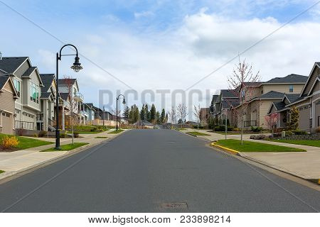 New North American Suburban Upscale Neighborhood Homes Along Street In Happy Valley Oregon United St